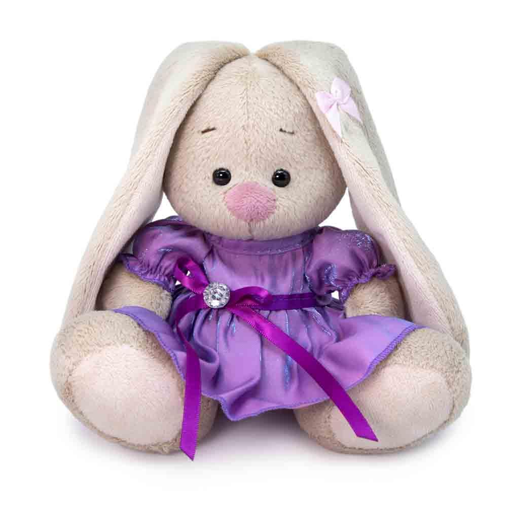 Мягкая игрушка BUDI BASA Зайка Ми в сиреневом платье с блеском 15 см