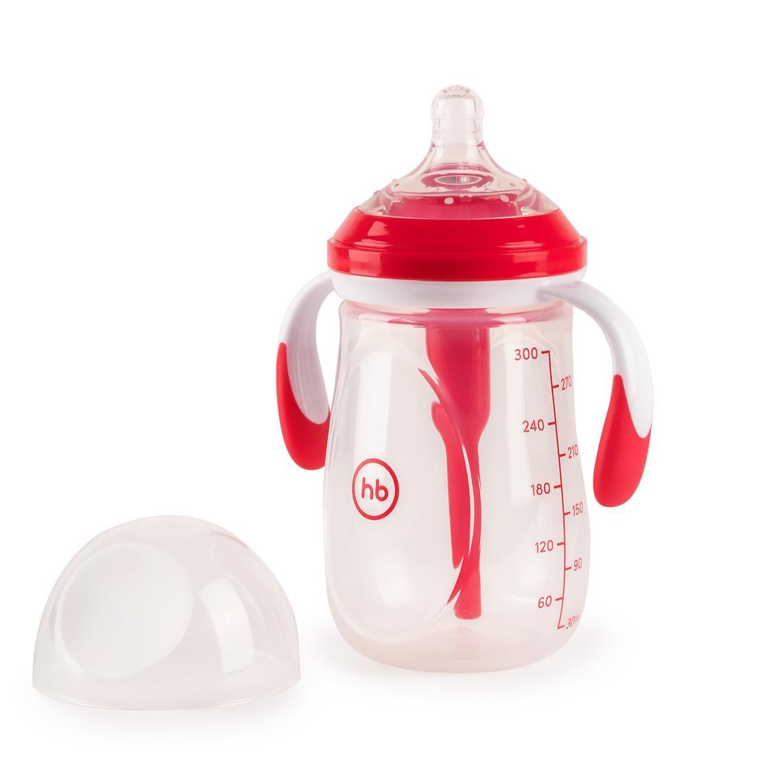 Бутылочка HAPPY BABY антиколиковая с ручками и силиконовой соской ruby, 300 мл.
