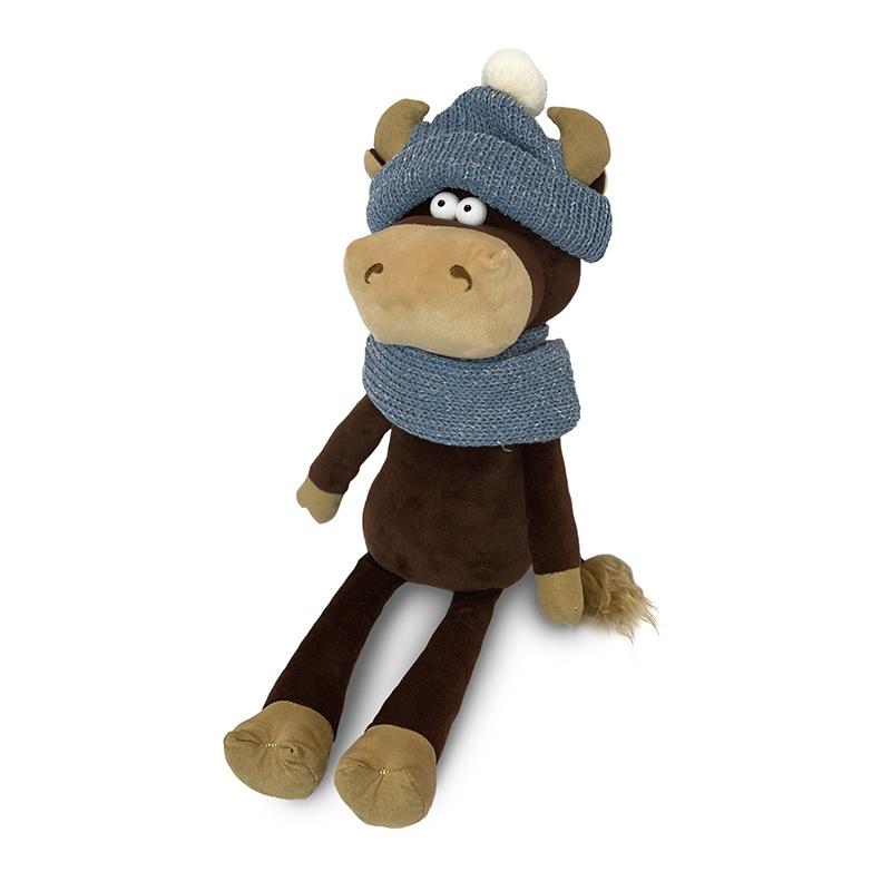 Мягкая игрушка MAXITOYS LUXURY Бычок Василий в шарфе и шапке 28 см